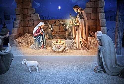 LFEEY 10x8ft Christmas Manger Scene Backdrop Religious Bethlehem Star Night Holy Family Nativity Scene Barn Stable Lamb Birth of Jesus Photography Background Photo Studio Props