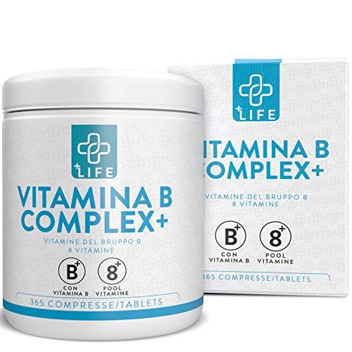 Vitamina B Complex PiuLife® ● 365 Compresse con Vitamina B6, B1, B2, B3 (Niacina), B5, B7 (Biotina), B9 (Acido Folico) e B12 ● Integratore Gruppo B total per Stanchezza, Pelle, Sistema Immunitario