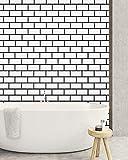 197x17.7 White Trellis Wallpaper White Brick Wallpaper Peel and Stick White Grid Wallpaper White Tile Effect Contact Paper Self Adhesive Waterproof for Kitchen Backsplash Bathroom Wall Covering