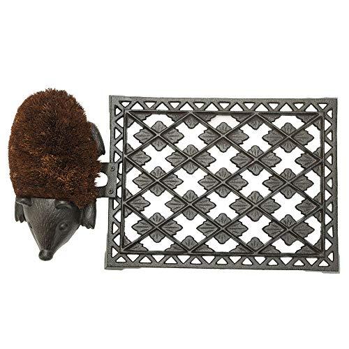 Sungmor - Felpudo de Hierro Fundido Resistente, 55 x 30 cm, Rectangular con diseño Vintage y rústico y un Bonito diseño de erizos, tapete Decorativo y raspador de Zapatos