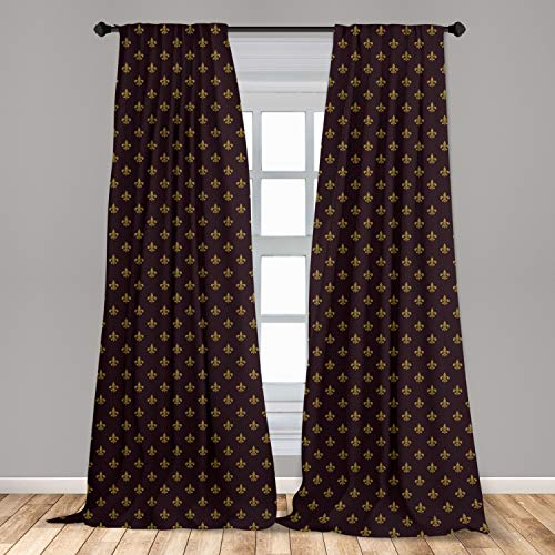 """Ambesonne Fleur De Lis Window Curtains, French Pattern European Culture Theme Abstract Vintage Renaissance, Lightweight Decorative Panels Set of 2 with Rod Pocket, 56"""" x 95"""", Yellow Burgundy"""