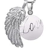 Bola colgante de embarazo armonía alarma bola'ángeles del Marcador' joya musical de maternidad las mujeres embarazadas con cadena de alas de ángel y Bola (114 CM, LOVE-BLANC)