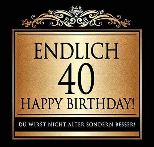 Udo Schmidt Aufkleber Flaschenetikett Etikett Endlich 40 Geburtstag gold elegant