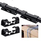 (20pcs) Finisher Wire Clamp Transparent ,Strong Self-Adhesive Cable Drop Wire Holder, Durable Mount-Round Plastic Cord Management Organiser Clamps for Home and Office Black