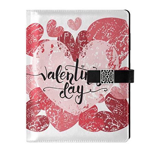 Cuaderno de piel para escribir diarios, diario de viaje, dibujado a mano, día de San Valentín, romántico, rellenable, tamaño A5, con anillas, cuaderno de tapa dura, regalos para hombres y mujeres