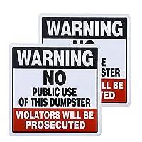 dojune-2パック 警告 - ダンプスターの公共使用禁止、違反者による起訴」サイン ダンピングサイン 不法なビデオプライベートパーキング