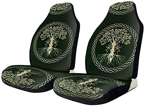 2 PCS Car Seat Covers, Celtic Ritual Norse Nordic Viking Goddess Wiccan Front Seat Covers, Vehicle Seat Protector Car Mat Covers, Bucket Seat Covers Fit for Car SUV Truck Van