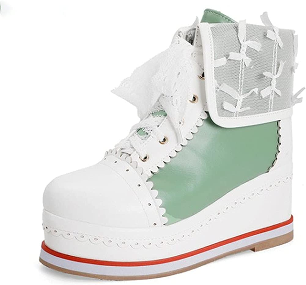 Vimisaoi Women's Lolita Lace Up Platform Tucson Mall Wedge Sweet Boots Fixed price for sale Mid