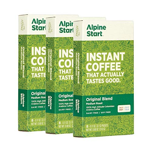 backpacking instant coffee packets ALPINE START Premium Instant Coffee. Medium Roast Original Blend Arabica Coffee. Natural, Vegan, Keto, Organic Coffee. Dairy, Soy & Gluten Free - Pack of 3 Boxes, 24 Count