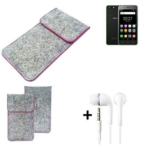 K-S-Trade® Filz Schutz Hülle Für Hisense Rock Lite Schutzhülle Filztasche Pouch Tasche Case Sleeve Handyhülle Filzhülle Hellgrau Pinker Rand + Kopfhörer