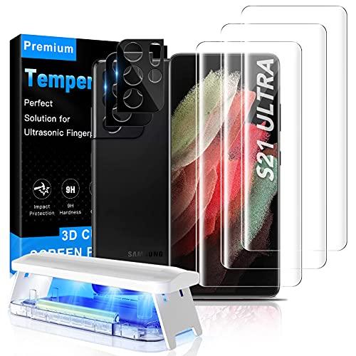 MOWEI [3+2 Stück] Für Galaxy S21 Ultra Panzerglas, 3X 9H Glas Schutzfolie & 2X Kamera Schutzglas [Fingerabdruck-ID unterstützen] Hüllenfreundlich Kompatibel mit Samsung S21 Ultra 5G
