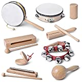 mixi Musical Instruments Toys for Toddlers, Wooden Percussion Instruments for Toddlers 1-3 with Storage Bag, Eco Friendly Drum Set for Kids and Toddlers