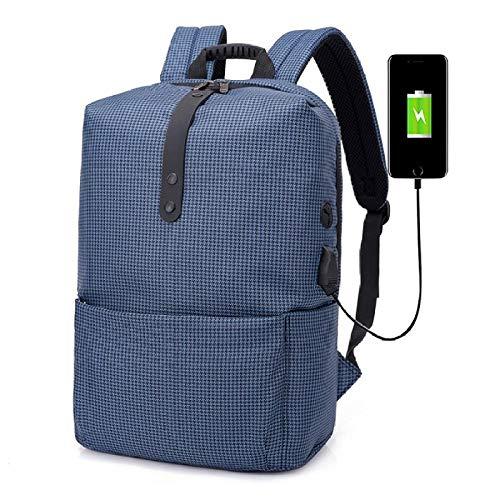 CCTYJ Male Impermeable USB Laptop Mochila Hombres Bolsa de computadora portátil con Auriculares Jack Mochilas Escolares para niños Mochila-Tela Escocesa Azul