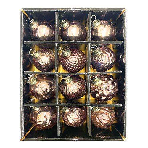HAC24 12 Set Glas Weihnachtskugeln Handbemalt Christbaumkugeln Weihnachtsbaumkugeln Echtglas Weihnachtsbaumschmuck (Kupfer)