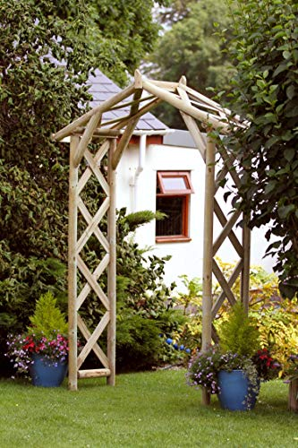 Oleiros Garden Arch Rustic with side rellis - 10 Year warranty against rot