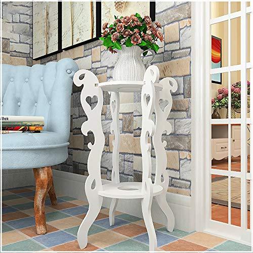 YINUO Cadre à fleurs Assemblage de salle de séjour intérieure multicouche en fer forgé Balcon Rangement au sol Viande Verte Plateau de pots de fleurs blanc Taille: 45x64cm