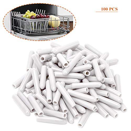 Tapas para Estante de Lavavajillas,100 Pack Universal Tapas Accesorios de Lavavajillas de PVC Puntas de Protección para Lavavajillas Cubierta de Dientes 1 Pulgada 3MM Diámetro Interior Blanco