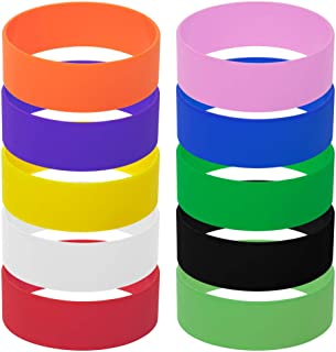 GOGO 10 PCS Wide Silicone Wristbands Rubber Bracelets, Party Favors