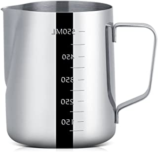 Cup Mugs Milk Frothing Cup Pitcher Stainless Steel Espresso Coffee Mugs with Measurement 600ml
