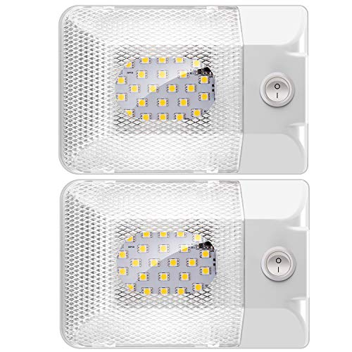 Samoleus Lampada Camper, 2 Pack 24 LED Plafoniera Camper, 300LM Illuminazione Interna LED Luce con Interruttore per Auto RV Camper Camion Van Barca Rimorchio (Luce Bianco Naturale)