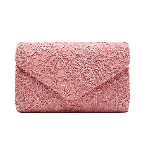 Umhängetasche Damen Clutch Mode Damen Frauen Blumen Spitze Abendparty Frauen Clutch Bag Braut Hochzeit Geldbörse Handtasche Pink