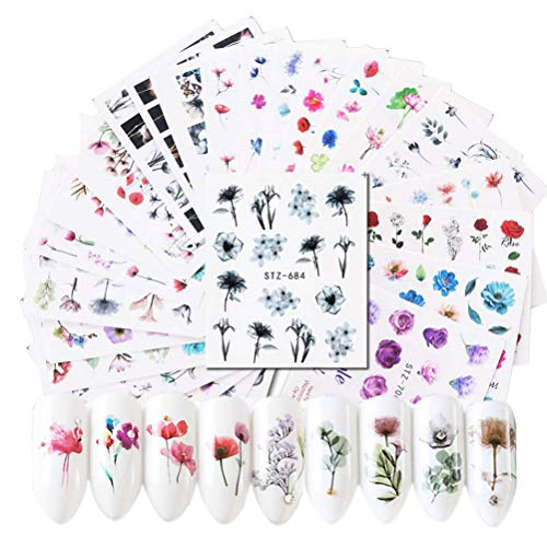 SUMAJU 24 Sheets Nail Art Stickers, Nail Decals for Women DIY with Assorted Patterns Water Transfer Blossom Flower Flamingo Nail Stickers Set Manicure Charms Tip Decor