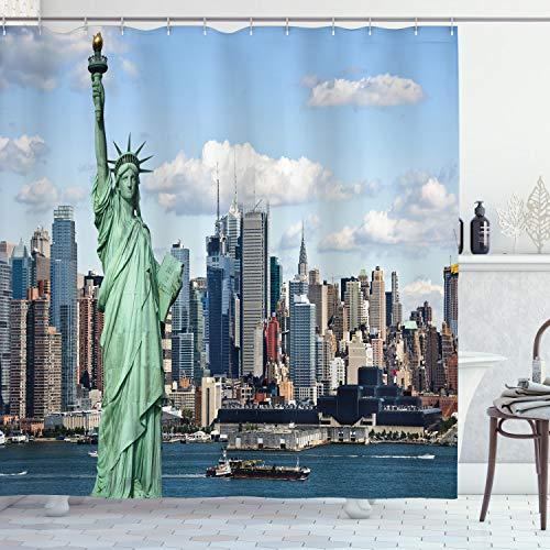 ABAKUHAUS Duschvorhang, Berühmte Freiheitsstatur Statue of Liberty New York Big Apple Stadt Metropole Schiffe Druck, Wasser & Blickdicht aus Stoff mit 12 Ringen Bakterie Resistent, 175 X 200 cm