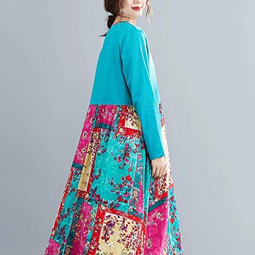 LXDWJ V-Cuello de algodón Lino Suelto Mujeres Vestido de Manga Larga Vestido de otoño Patchwork impresión Floral Vintage Vestido Femenino Casual Vestido de Primavera (Color : B, Size : XX-Large)