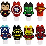 8 Pcs Portable Travel Bottles,30ml Leak Proof Refillable the Avengers Cartoon Empty Bottles Hand Sanitizer Bottles Holder with Detachable Silicone Protective Case Liquid Soap Containers for Kids