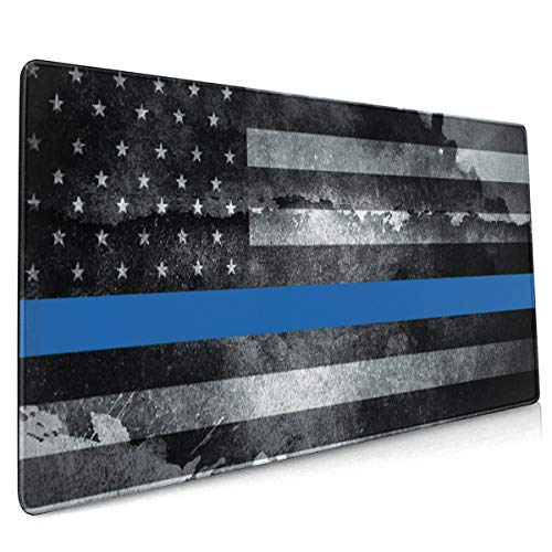 Thin Blue Line American Flag Police Gaming Mouse Pad Large (35.4X15.7X0.15inch) Thick Extended Mouse Mat Desk Pad for Keyboard, PC