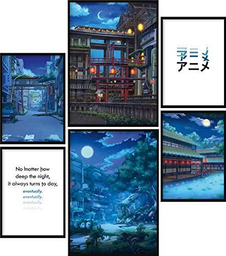 Calias® Premium Poster Set Anime   Bilder Set für Wohnzimmer Deko oder Schlafzimmer Deko   Stilvolle Wanddeko   6er Set ohne Rahmen   2X DIN A3 und 4X DIN A4
