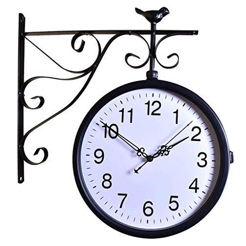 TBUDAR Reloj De Pared Moda Hierro Forjado Reloj De Doble Cara Retro Simple Craft Reloj Creativo Sala De Estar Mute Reloj Redondo Puede Ser De 360 Grados Decoración para El Hogar Rotation