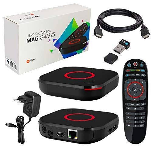 MAG 324 original Infomir & HB-DIGITAL IPTV Set TOP Box Multimedia Player Internet TV IP Receiver (HEVC H.256 Support) + HB Digital Nano WLAN Stick + HDMI Kabel