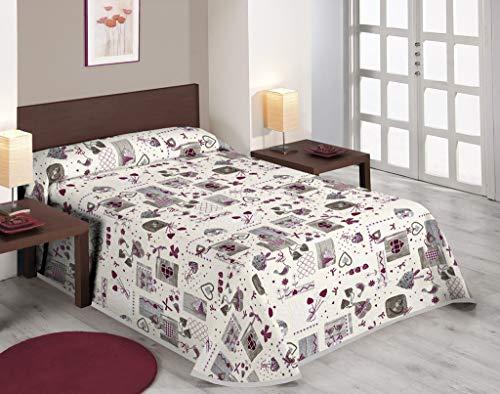 SABANALIA - Colcha Estampada Love (Disponible en Varios tamaños), Cama 120-220 x 280