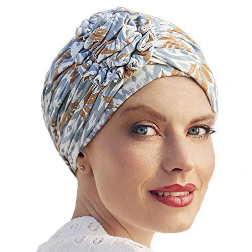Christine Headwear Turban oncologique Lotus en Bambou ou en Lin Printemps-été Collection 2021 (Bleu Oriental)