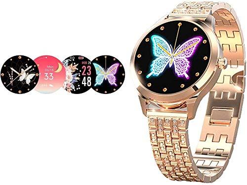 Reloj inteligente femenino de 1.1 pulgadas Diseño estético moderno Mostrar su encanto Notificación de mensaje de gestión de salud Monitoreo del sueño Regalos para mujeres-Oro