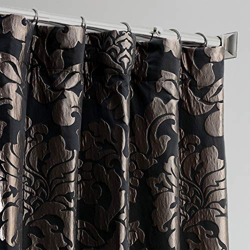 HPD Half Price Drapes JQCH-201301-96 Designer Damask Curtain (1 Panel), 50 X 96, Astoria Black & Grey