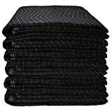 US Cargo Control Econo Deluxe Moving Blankets - 80 Inches Long By 72 Inches Wide - Black/Gray Polyester Material - Durable Protection During A Move Or While In Storage - 6 Pack