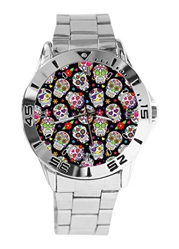 Reloj de pulsera analógico de cuarzo con diseño de calavera de azúcar muerto, esfera plateada clásica de acero inoxidable, reloj de mujer