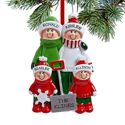 Jasinto 2020 Family of 3/5/6 Personalized Pendant Ornaments with Face Macks DIY Santa Party Decoration Product Family Customized Hanging Christmas Decoration Set Creative Gift
