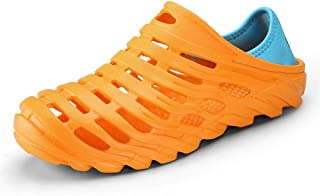 Shoes Comfortable Breathable Slippers Outdoor Beach Shower Slip On Light-Weight Round Head Relax Walking Shoes Clogs Sandals for Men Anti-Slip Water Shoes Fashion (Color : Orange, Size : 8 UK)