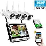 1080P Tout-en-Un Système de Caméra Sécurité sans Fil Jennov Kit de Vidéosurveillance WiFi 4CH WiFi NVR Enregistreur avec 12 Pouces LCD Ecran et 4Pcs IP Caméras, IP66 Etanche, 1TB Disque Dur Inclus