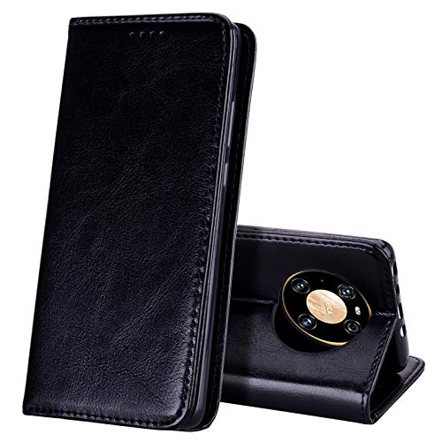 EATCYE Kompatibel mit Huawei Mate 40 Pro Hülle, [Echtleder] Handyhülle [Extra Dünn] Brieftasche flip Lederhülle Schutzhülle [Versteckt Magnet] Premium Design Echt Leder Brieftasche (Schwarz)