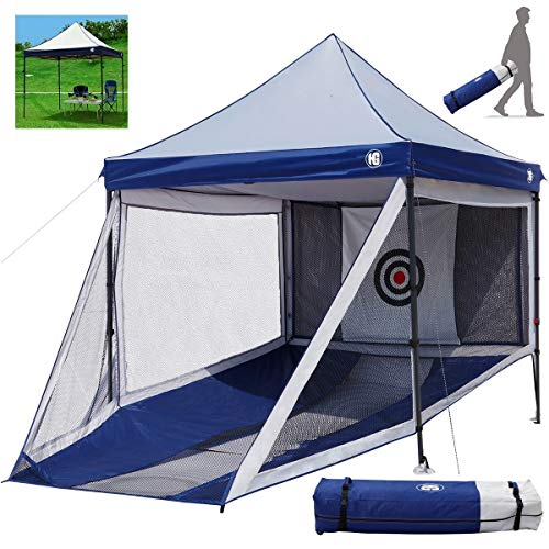 HG Golf Practice Hitting Nets and Full Size Gazebo Combination for Indoor and Outdoor Golf Training, 2 in 1 Large Portable Golf Driving Chipping Net Cage and Gazebo Tent Combo