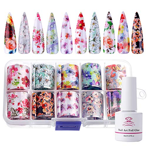 Makartt Nail Art Foil Glue Gel with Starry Sky Star Foil Stickers Set Nail Transfer Tips Manicure...