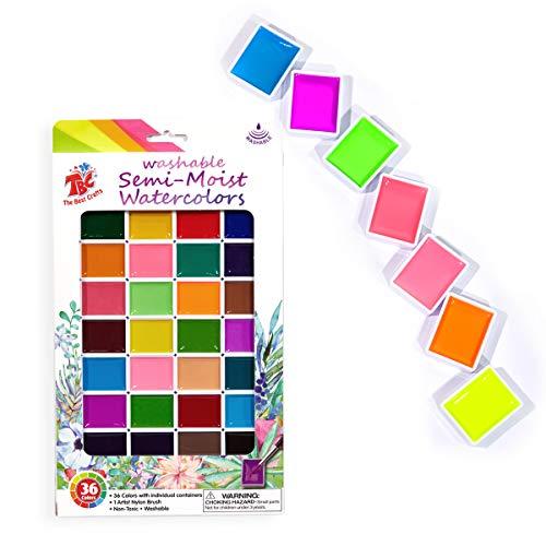 TBC The Best Crafts Deckwasserfarben in 36 Farben Aquarellfarben Wasserfarben Set Aquarell Farbkasten mit 1 Pinsel Abwashbar Aquarellfarbkasten für Kinder Erwachsene Mädchen Junge Anfänger