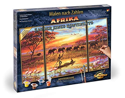 Schipper 609260627 Malen nach Zahlen, Afrika, Zauber eines Kontinents - Bilder malen für Erwachsene, inklusive Pinsel und Acrylfarben, Triptychon, 50 x 80 cm