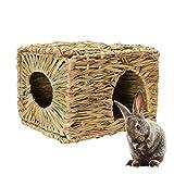 DIYARTS Cage de Nid Pliable en Paille de Nid de Hamster de Hutte Faite à la Main Naturelle pour Lapin Hamster Gerbille Chinchillas Porc Hérissons