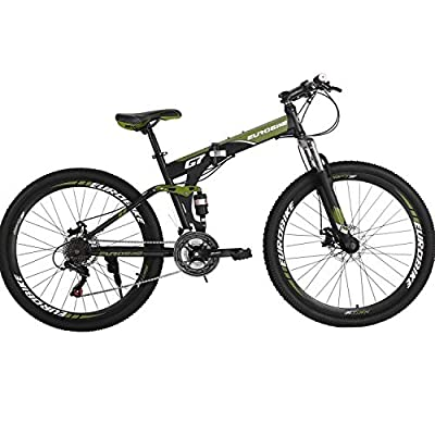 Folding Mountain Bike 21 Speed Full Suspension Bicycle 27.5 inch MTB (ArmyGreen)