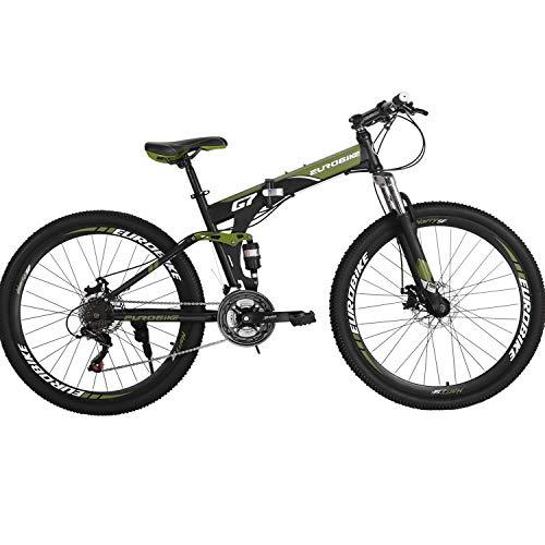 Folding Mountain Bike 21 Speed Full Suspension Bicycle 27.5 inch MTB...